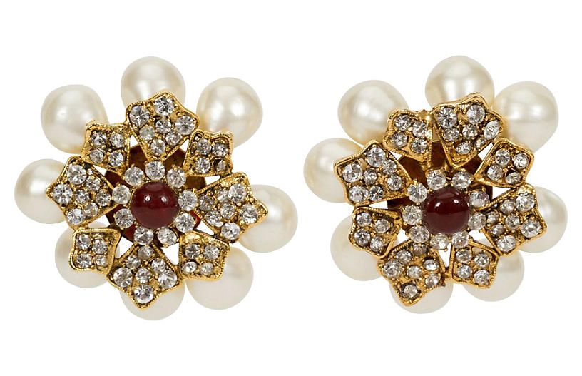 7daad57550d70e 1970s Chanel Gripoix & Pearl Earrings - Vintage Lux | Products in ...