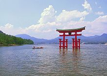 Japan - The torii of Itsukushima Shrine near Hiroshima, one of the Three Views of Japan and a UNESCO World Heritage Site