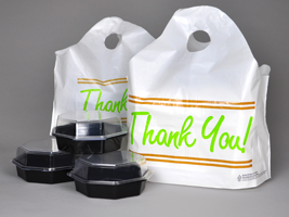 Printed White Take Out Bags Universalplastic Is Leading Manufacturer And Supplier Offers Wave Top Handle Plastic Thank You