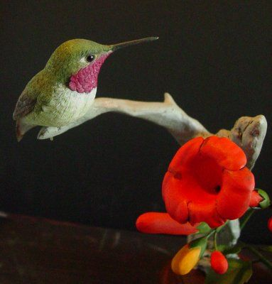 Ruby Throated Hummingbird Wood Carving