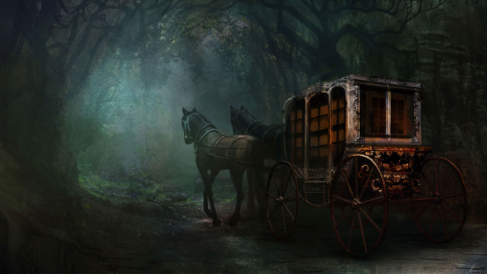 Carriage In A Dark Forest Cgtrader Digital Art Competition Art Competitions Fantasy Horses Art Wallpaper fantasy horse night forest art