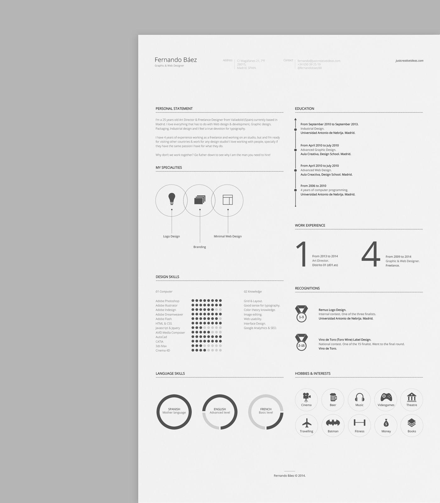 Resume Cv Template   Diseños de CV   Pinterest   Diseño de cv