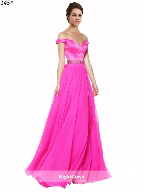 Shop Right Prom Online Off the Shoulder 2018 Chiffon Long Sleeveless ...