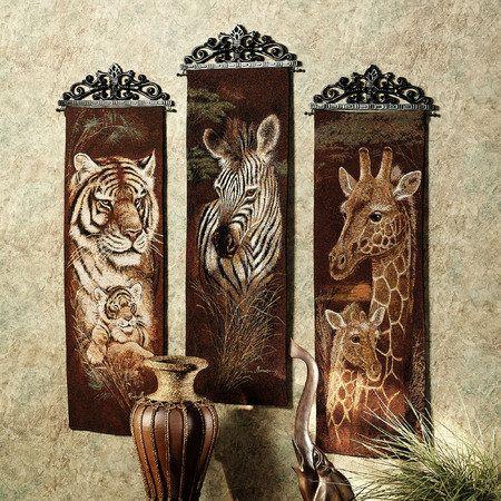 Safari animal wall tapestry panel set i love wall decor for African bathroom decor ideas