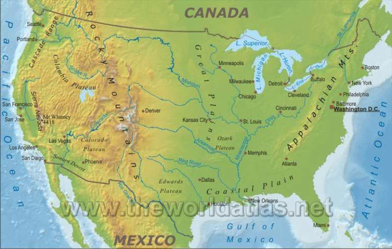 map of US lakes rivers mountains Geographical Map of United States