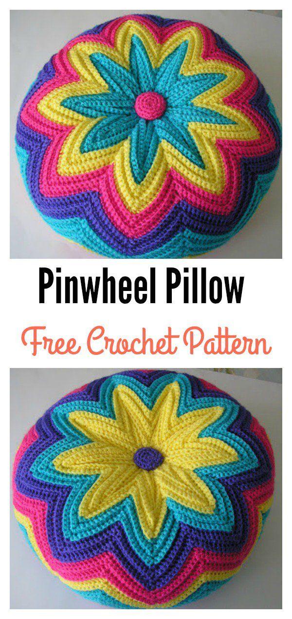 Pinwheel Pillow Free Crochet Pattern | Crochet Decor | Pinterest ...