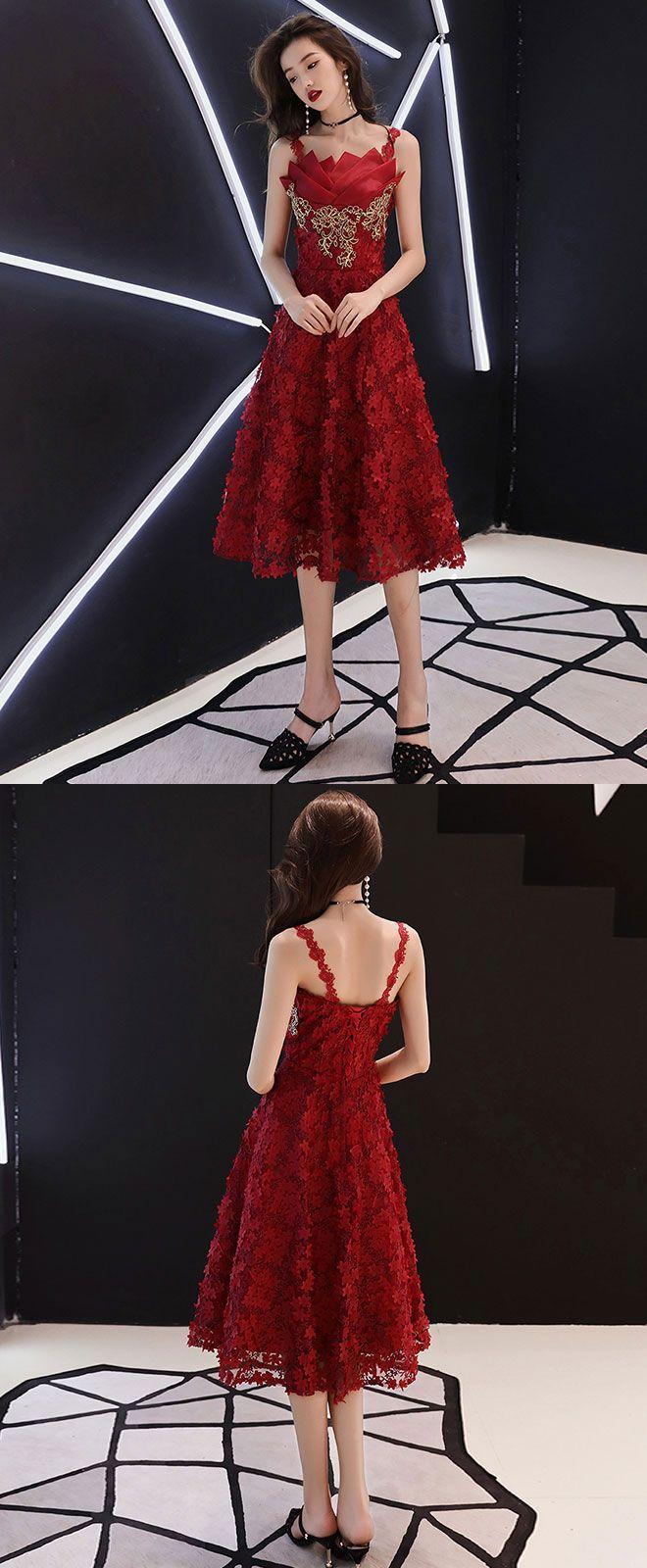 Burgundy lace short prom dress burgundy homecoming dress