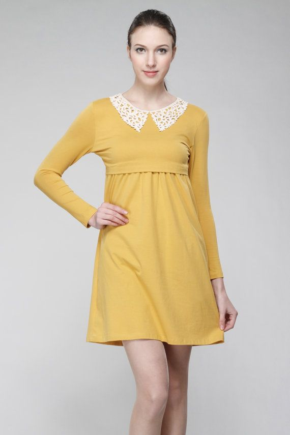 a7c79886d1c Citrine Lace Collar Nursing Dress   Maternity Dress - Breastfeeding Dress  Pregnancy - yellow mustard floral lace peter pan collar -  L07a