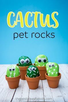 These pet cactus rocks are so cute! Such a fun kids craft! Perfect DIY activity to make your own cactus rocks. via @bestideaskids