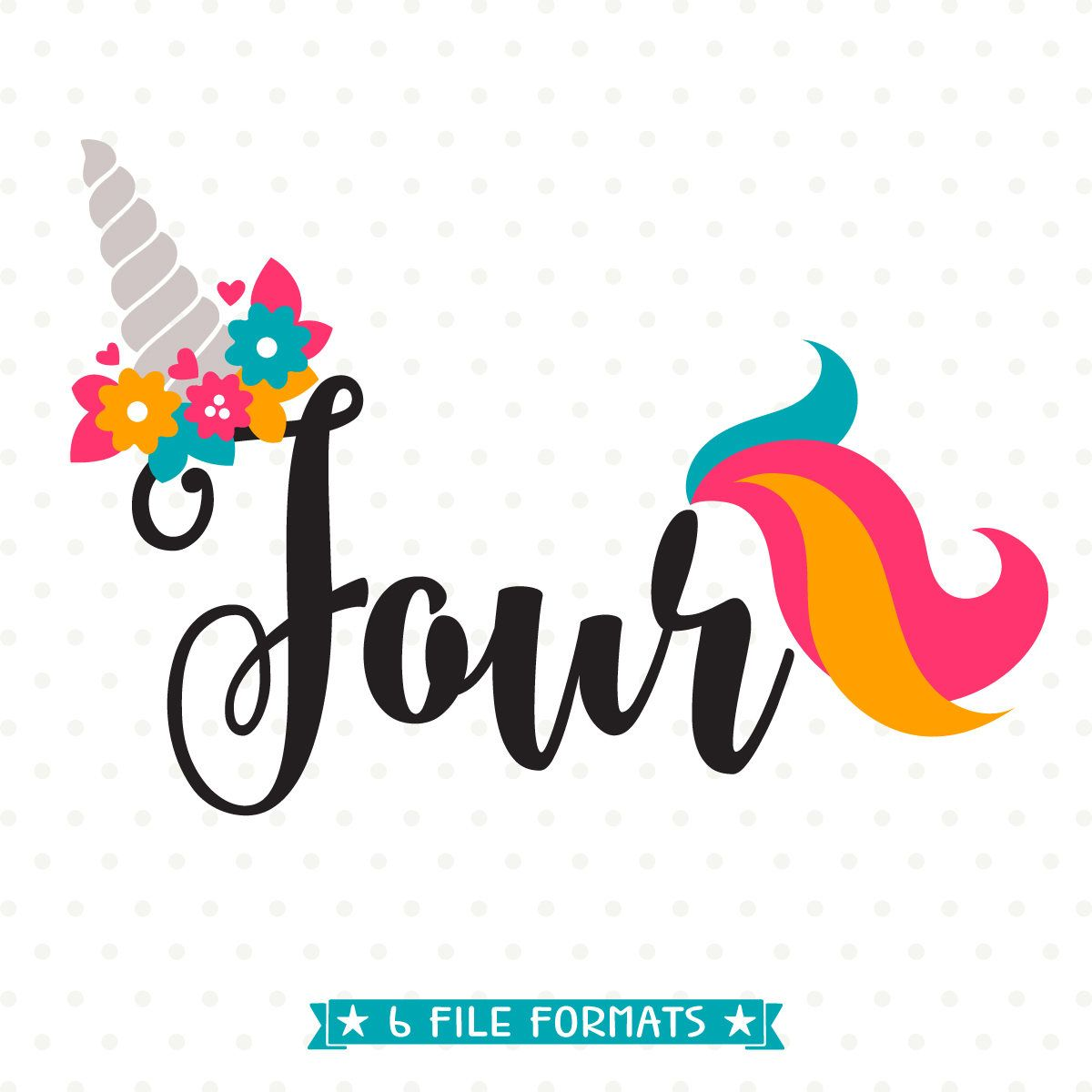 4th Birthday SVG Unicorn DXF Four Years Old Cut File Party Svg Fourth Iron On Shirt By QueenSVGbee