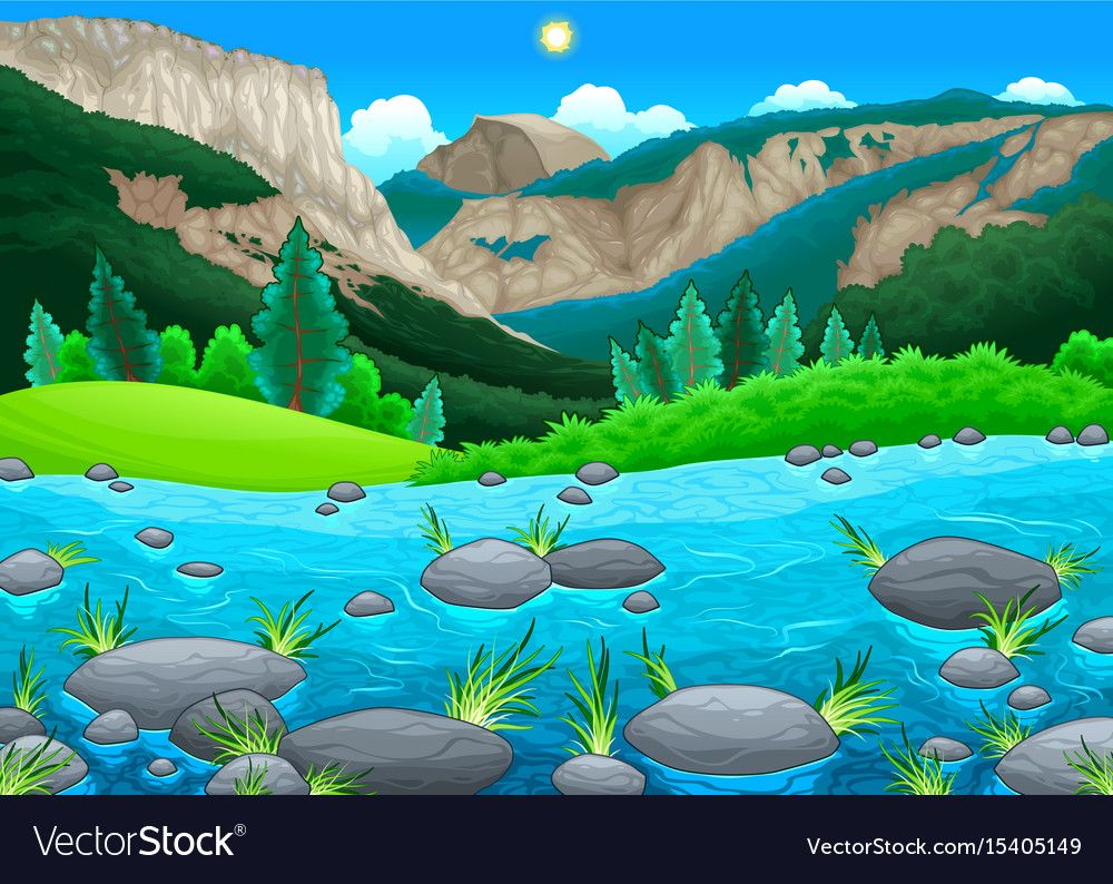 Mountain Landscape With Lake Vector Image On Vectorstock Mountain Landscape Nature Vector Lake Landscape