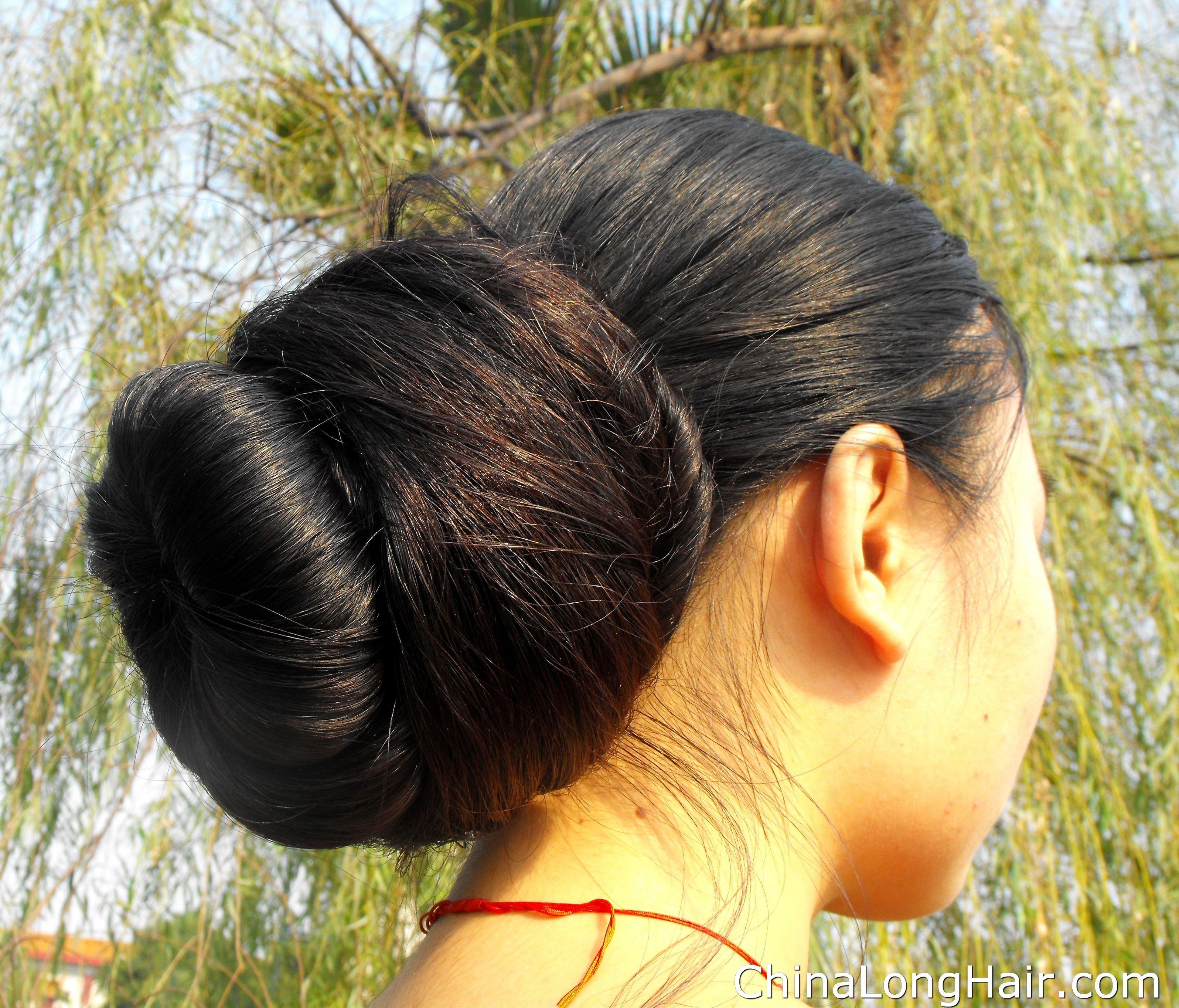Feng Ye Big Low Bun Rambut Sangat Panjang Bun Hairstyles Big
