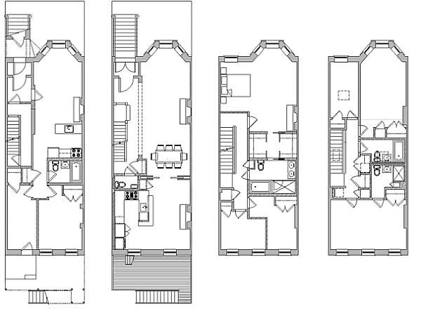 Proposed 1st thru 4th floor plans townhouse floor plans for Brownstone building plans