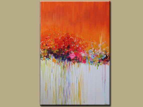 Original abstrakte malerei acryl blume malerei von for Vorlagen malerei