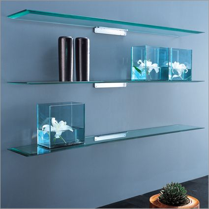 Pretty Looking Glass Wall Shelves Home Decor Floating
