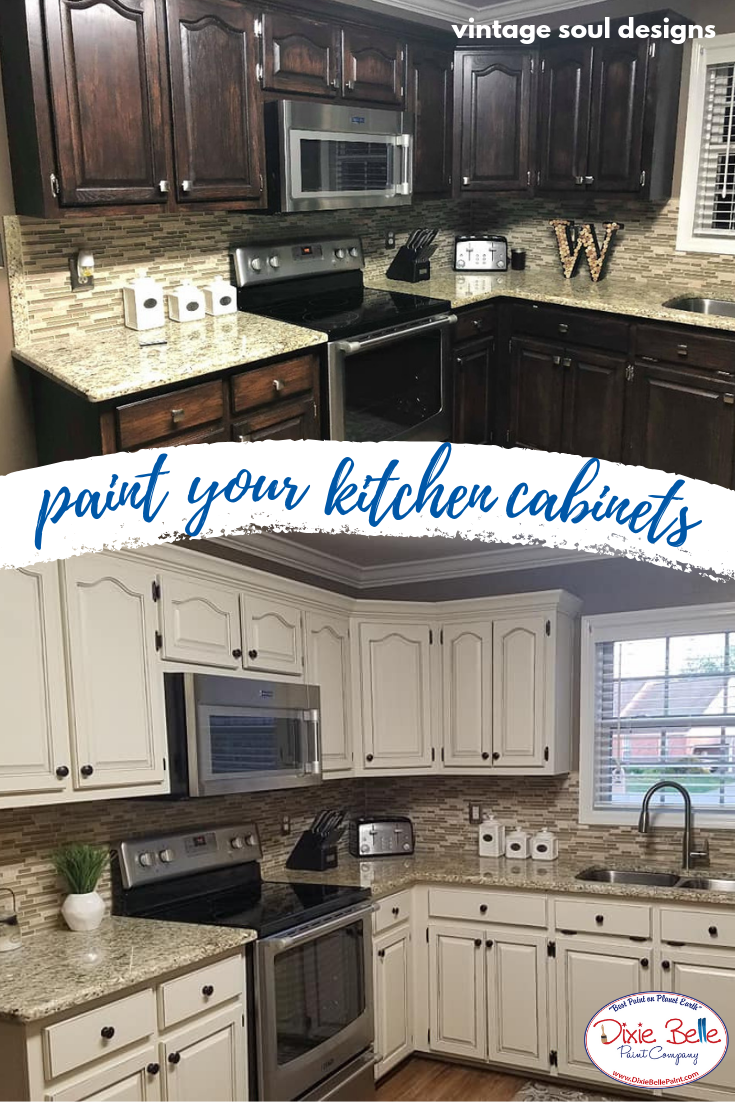 Paint Your Kitchen Cabinets These Were Painted With Drop Cloth Grunge Gray Wax And Gator Hide S Kitchen Cabinets Dixie Belle Paint Painting Kitchen Cabinets