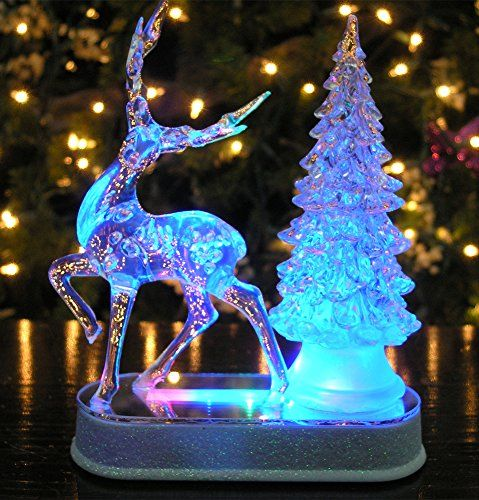 Reindeer And Christmas Tree Color Changing Acrylic Table