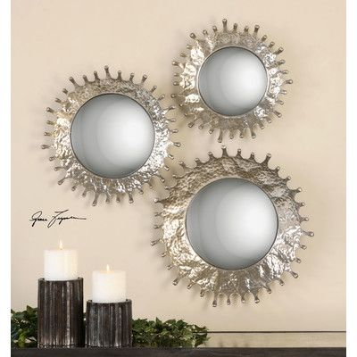 Rain Splash 3 Piece Round Mirror Set