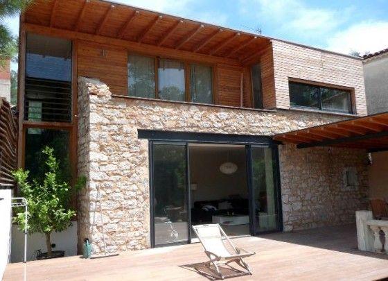 Extension bois moderne maison ancienne