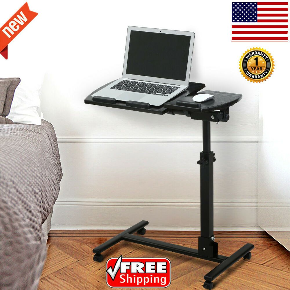 Portable Rolling Laptop Desk Cart Height Adjustable Home Office Table Book Stand Affilink Desk Desksetup Sofa Side Table Home Office Table Desk