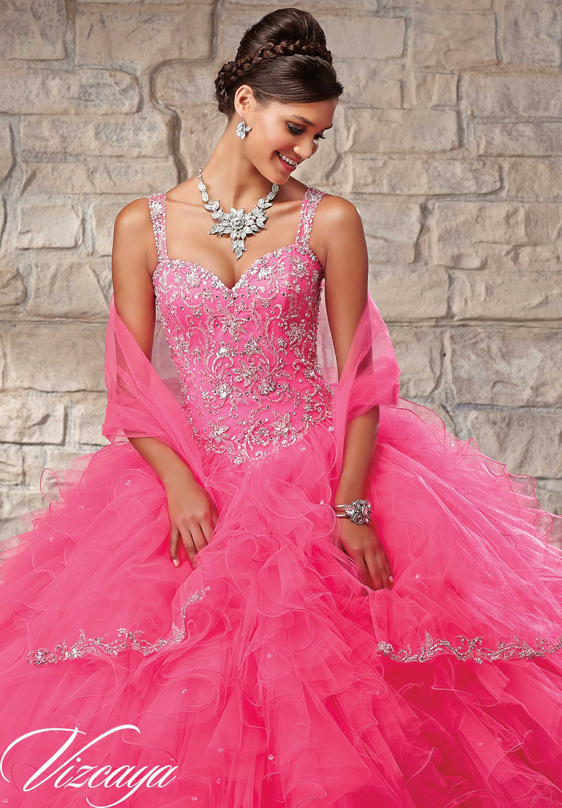Quinceanera Dress 89027 Embroidered and Beaded Bodice on a Ruffled ...