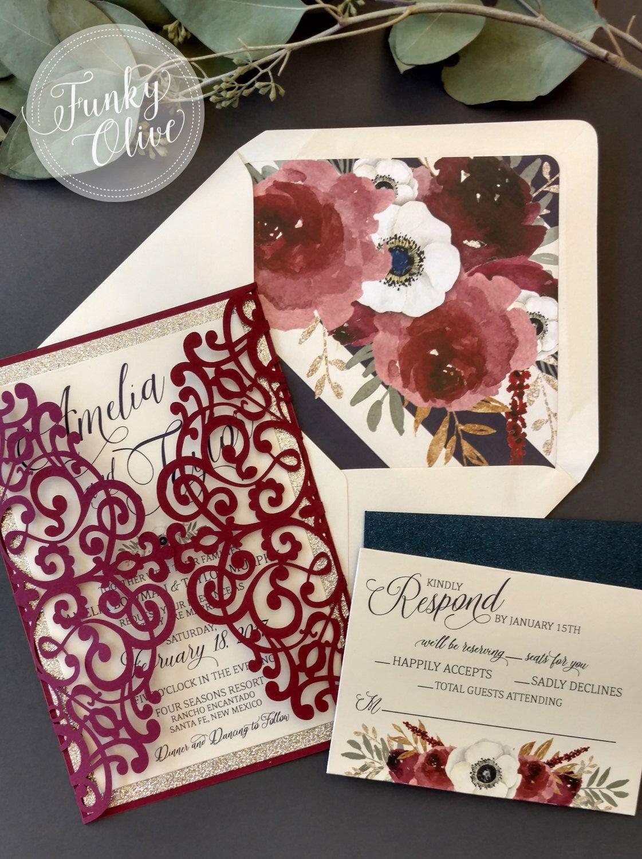 Laser Cut Wedding Invitation Package Burgundy Navy Gold Glitter ...