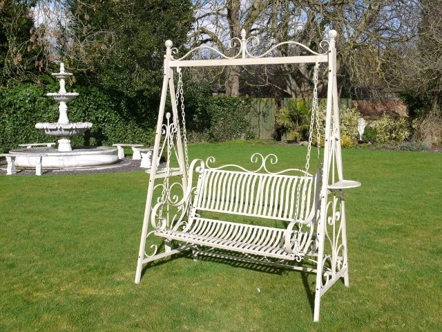 Large Cream Ornate Metal Swing Garden Bench Seat