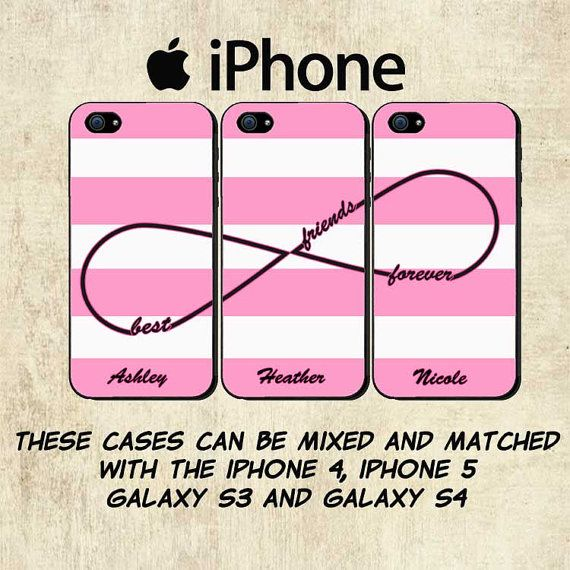 Best Friends iPhone Case - Personalized iPhone 5 Case - iPhone 4 Case -  Pink Stripe iPhone Case - THREE CASE SET on Etsy da70131be4b