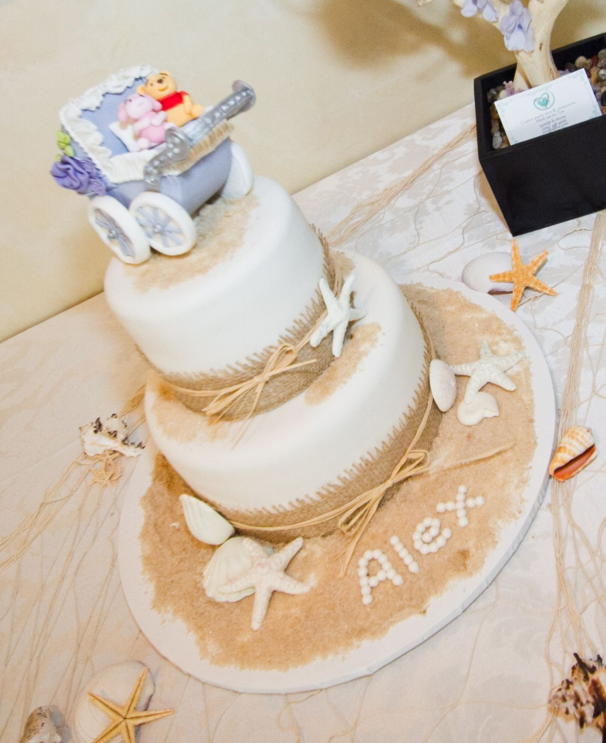 Beach theme baby shower cake, with personalized buggy featuring Pooh ...