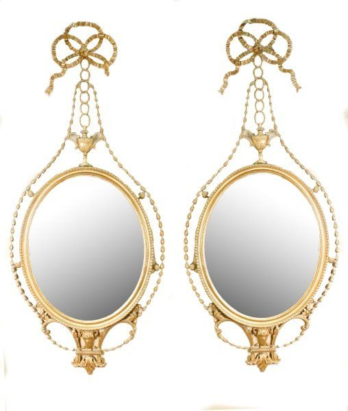 Pair of Neoclassical Style Oval Giltwood Mirrors : Lot 899