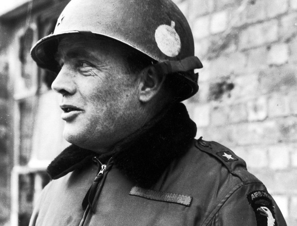German Gen. Lüttwitz offers a honorable surrender to the 101st Airborne Division in Bastogne. Gen. McAuliffe answers    -  NUTS!
