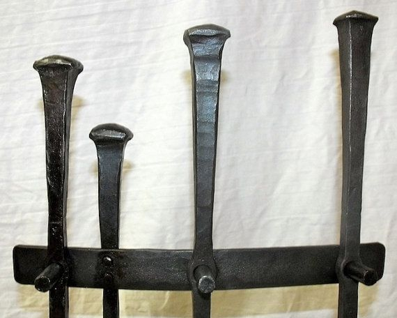Attractive Rustic Wrought Iron Fireplace Tool Set