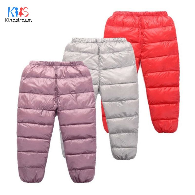 Kids Boys Girl Winter Warm Cotton Down Pant Thick Quilted Elastic Waist Trousers
