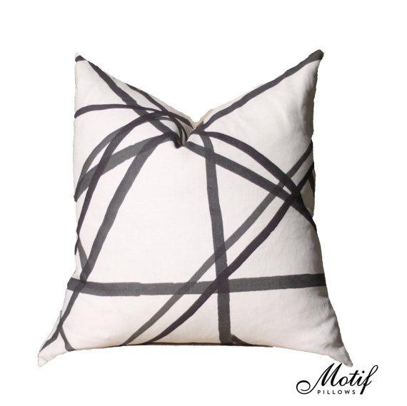Kelly Wearstler Channels Pillow Cover Ivory Ebony Black And Off White Pillow Designer Geometric Pillow Co Geometric Pillow Covers Kelly Wearstler Pillows