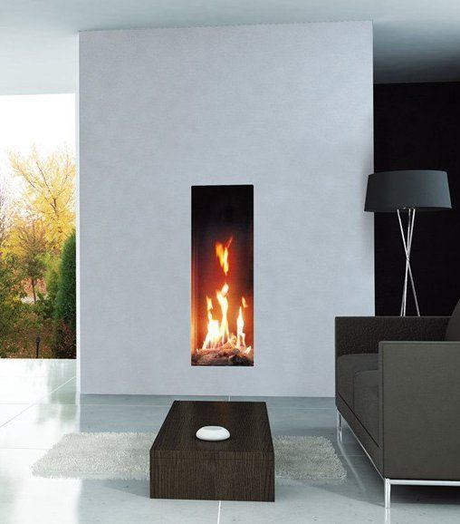 Vertical Rectangle Shaped Fireplace With A Concrete Rendered