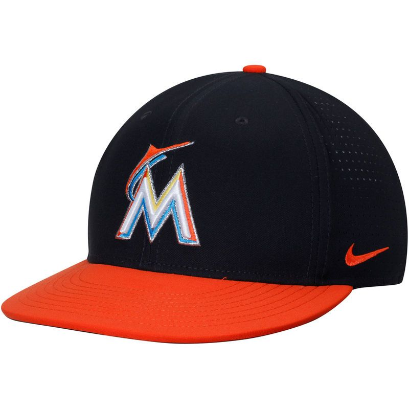 19aa5a3d0f6 Miami Marlins Nike Aero True Performance Adjustable Hat - Black Orange