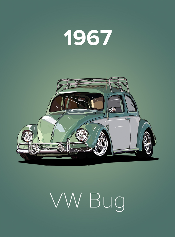 Classic Pistachio Green Cream Vw Beetle With Roof Rack 1967 Poster In 2020 Vw Beetles Vw Beetle Classic Vw Classic
