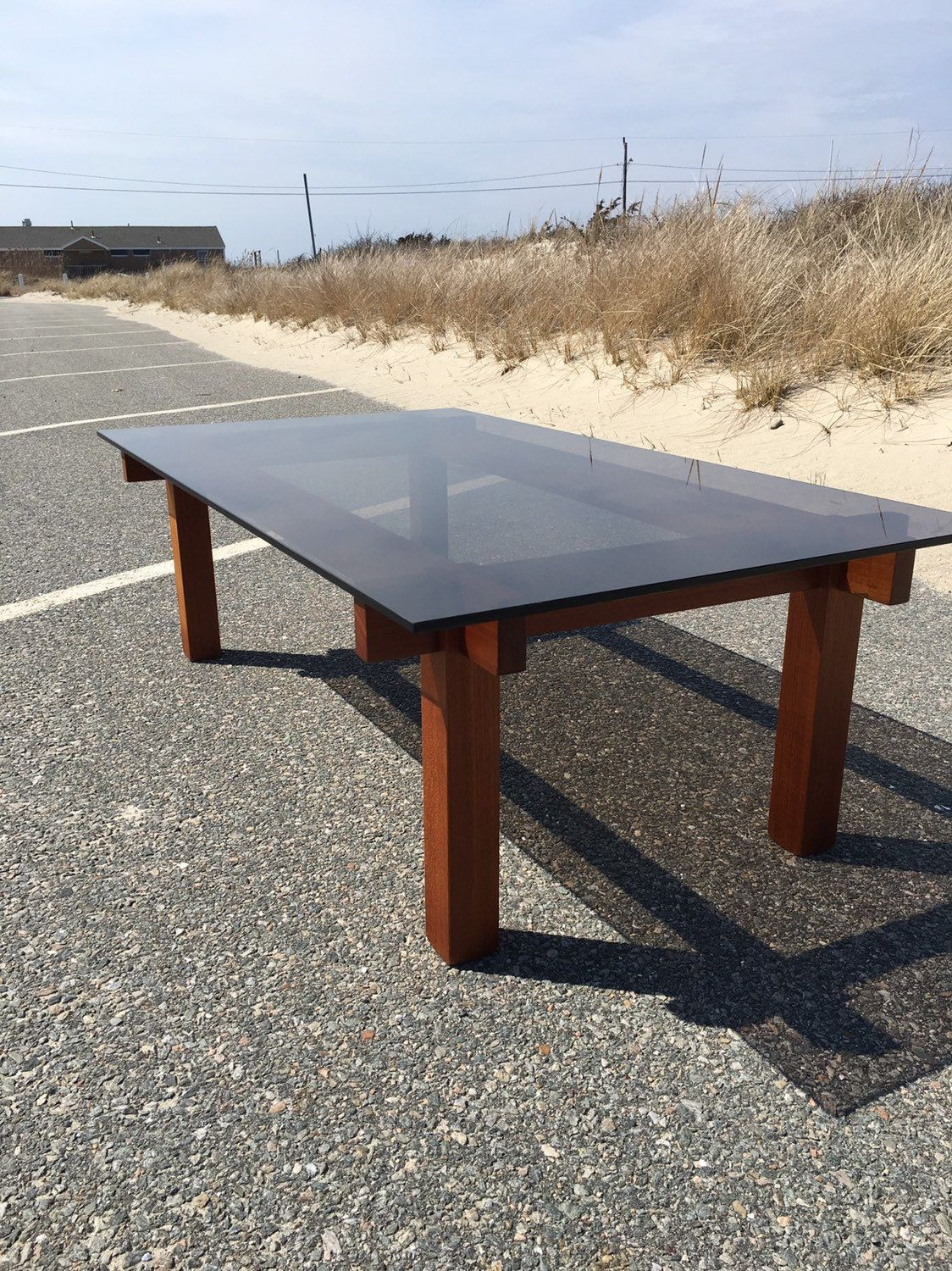 Vintage Teak Coffee Table With Smoked Glass Top Mid Century