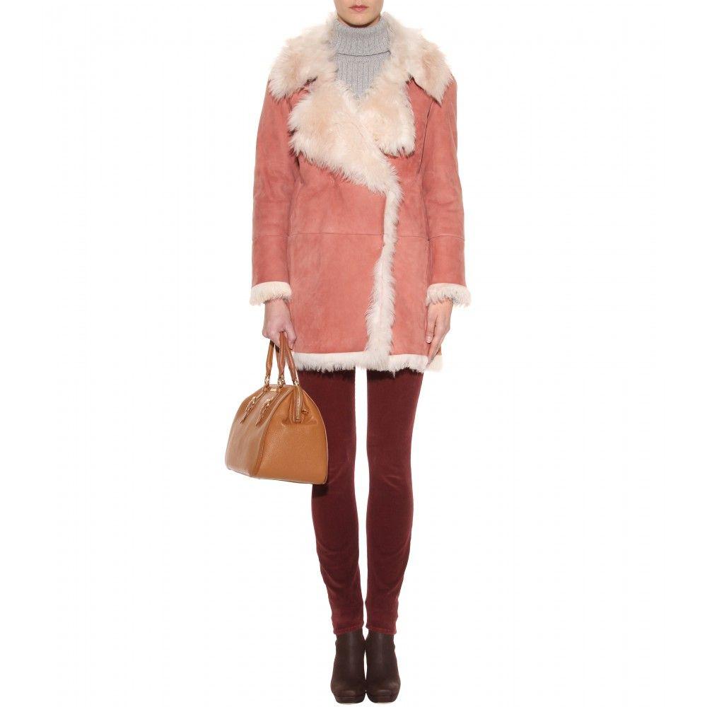 e6b4650b89450 Miu Miu Shaggy Shearling Coat in Pink | Lyst | casual pants | Coat ...