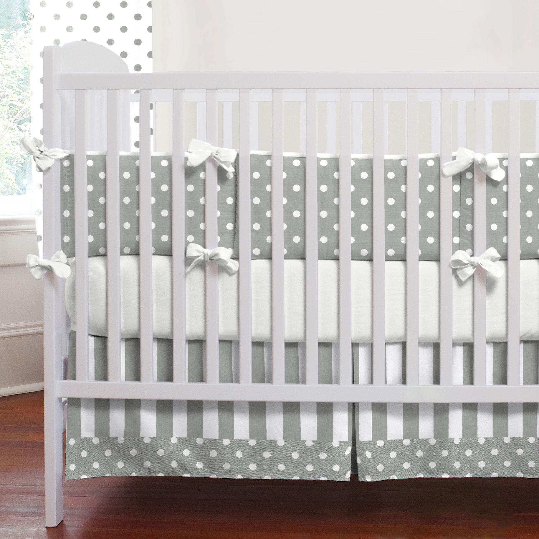 Gray And White Dots Stripes 3 Piece Crib Bedding Set