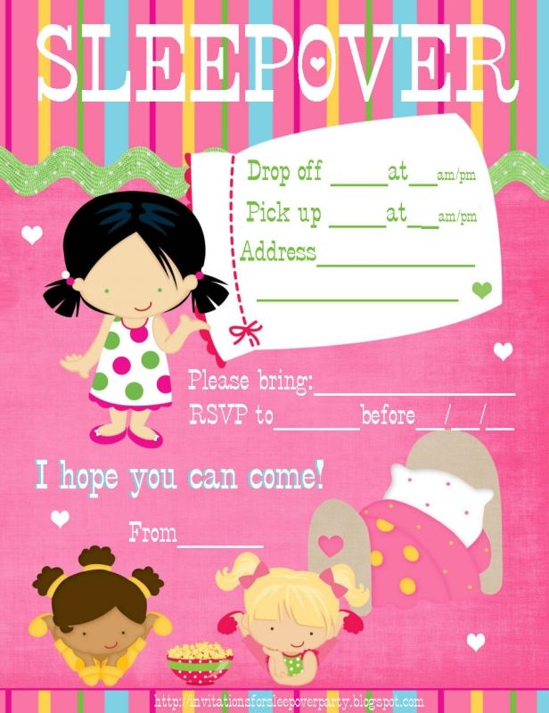 Sleepover Party Invitations Templates Free – Free Printable Slumber Party Invitation Templates