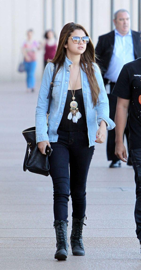 8751405610d Selena Gomez s Day Look  Black Combat Boots