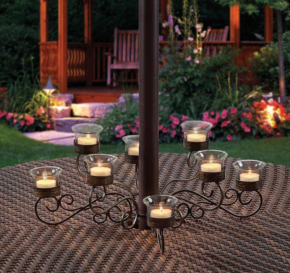 Outdoor votive candle chandelier