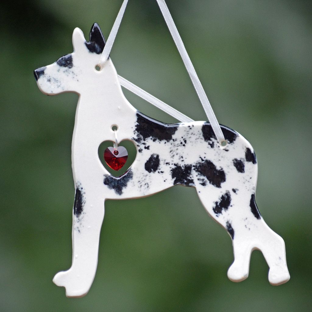 Porcelain Great Dane Ornament Harlequin Puppy Ornaments