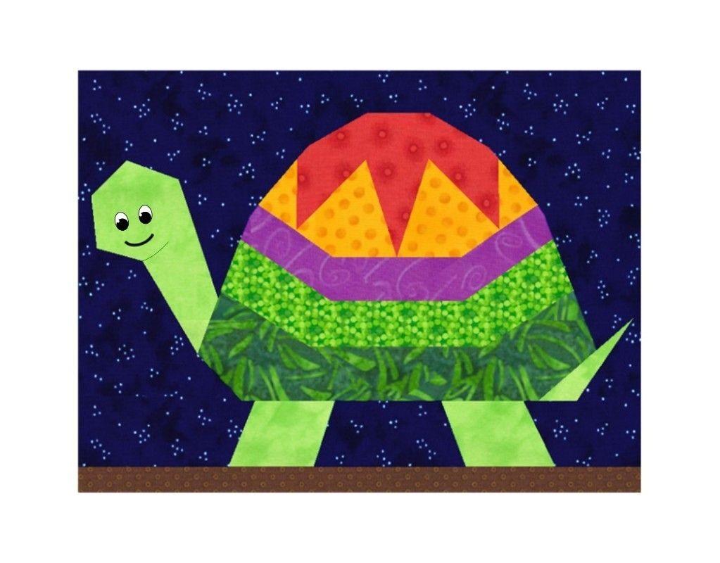 Turtle paper piecing quilt block pattern PDF | Nähen