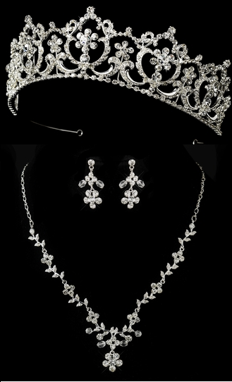 Regal Wedding Tiara and Matching Floral Jewelry Set on sale