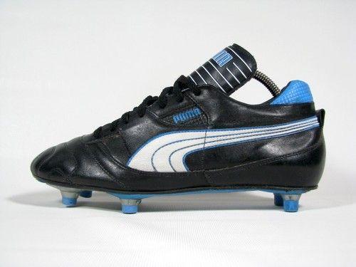vintage PUMA Football Boots uk 7.5 fr 41 rare OG 80s SG leather  black blue white  33ff7651d6021