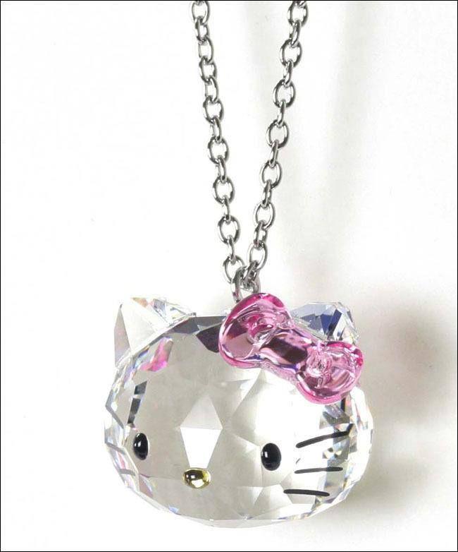 40c2c1c77 HELLO KITTY & SWAROVSKI Collaboration Crystal necklace Limited rare sanrio  japan