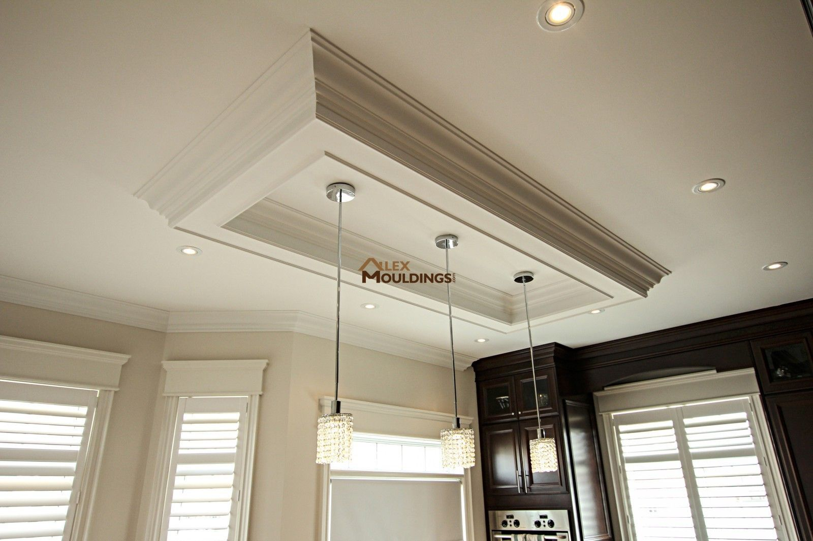 Ceiling box above kitchen island | Coffered And Waffle Ceilings ...