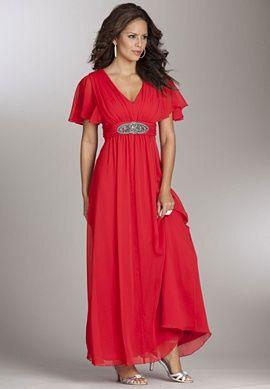 Roaman\'s Chiffon Empire Waist Gown | Wedding Ideas | Plus ...